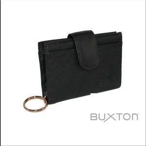 BUXTON BLACK TAB CARD CASE MENS WALLET BLACK NWT